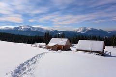 一条被践踏的道路导致雪的木房子 免版税图库摄影