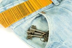 一条裤子和钥匙 图库摄影