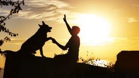 一条训练德国牧羊犬狗的剪影外形与一个经理的在领域的日落的,更加温驯的人建立一信任 库存图片