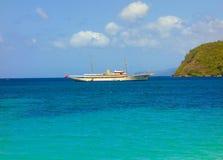 一条豪华私有游艇在加勒比 免版税图库摄影