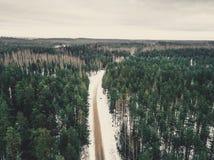 一条路的寄生虫摄影在森林之间的在冬天-葡萄酒lo 库存图片