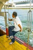 一条轮渡的上尉在河晁Phraya的在曼谷 免版税库存照片
