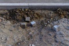一条边路的建造场所有唯一铺路石的 图库摄影