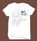 一条逗人喜爱的狗的图画剪影孩子` s衬衣的 免版税库存图片