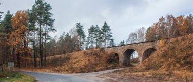 一条铁路在秋天 免版税图库摄影