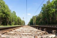 一条铁路在绿色森林里在晴天 库存照片