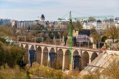 一条铁路的建筑在卢森堡 库存图片