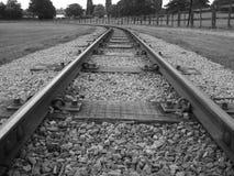 一条铁路轨道的一张黑白照片 免版税库存图片