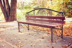 一条长凳在秋天公园 许多下落的叶子是黄色和红色的 定调子 图库摄影