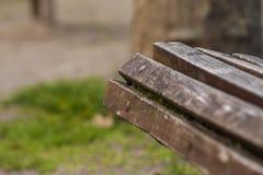 一条长凳的木丝带在绿色公园背景的 免版税库存图片