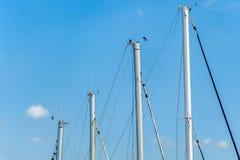 一条风船的四帆柱反对天空的 库存图片
