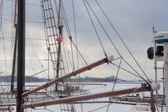 一条风船, Ontario湖,多伦多的一个闭合的甲板在停泊的 库存图片