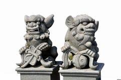 一条马龙的石雕象在白色背景的 免版税图库摄影