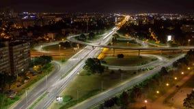 一条高速公路的Timelapse在晚上在萨格勒布 影视素材