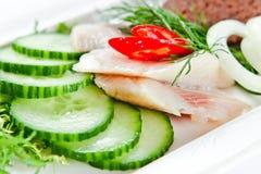 一条鲱鱼的内圆角用黄瓜 图库摄影