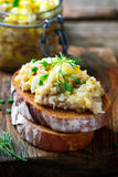 从一条鲱鱼的Forshmak在黑麦面包 库存照片