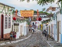 一条鹅卵石街道在戈亚斯联合国科教文组织世界遗产  库存照片