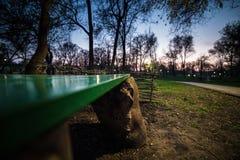 一条绿色长凳在日落的公园 免版税库存照片