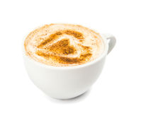 一杯与泡沫,桂香的热奶咖啡 库存图片