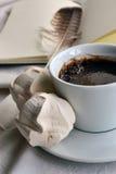 一杯咖啡在笔记薄背景的与羽毛的 免版税库存图片