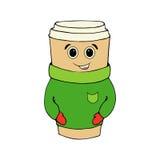 一杯咖啡在被编织的服装的 一个杯子热的咖啡 手图画咖啡杯 传染媒介例证舒适的咖啡杯 库存照片