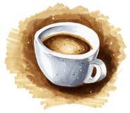 一杯咖啡的拉长的例证 库存照片