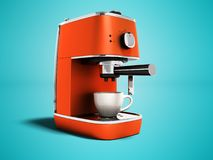 一杯咖啡的现代橙色咖啡机3d回报在与阴影的蓝色背景 皇族释放例证
