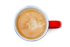 一杯咖啡的顶视图,在白色的孤立 库存照片