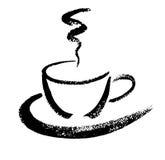 一杯咖啡 手拉的刷子剪影 也corel凹道例证向量 免版税图库摄影