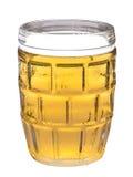 一杯在白色背景的啤酒 库存图片