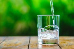 一杯在绿色背景的水 免版税库存图片
