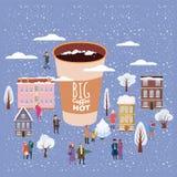 一杯大咖啡人的、人和妇女在冬天,字符,在圣诞节和新年假日,小屋 皇族释放例证