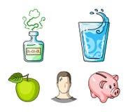 一杯水,一个瓶酒精,一个冒汗的人,苹果 在动画片样式传染媒介的Diabeth集合汇集象 向量例证