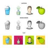 一杯水,一个瓶酒精,一个冒汗的人,苹果 在动画片的Diabeth集合汇集象,平,单色 皇族释放例证