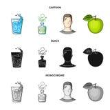 一杯水,一个瓶酒精,一个冒汗的人,苹果 在动画片的Diabeth集合汇集象,黑 皇族释放例证