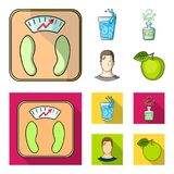 一杯水,一个瓶酒精,一个冒汗的人,苹果 在动画片,平的样式的Diabeth集合汇集象 皇族释放例证