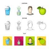 一杯水,一个瓶酒精,一个冒汗的人,苹果 在动画片,概述的Diabeth集合汇集象,平 向量例证