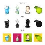 一杯水,一个瓶酒精,一个冒汗的人,苹果 在动画片,黑色的Diabeth集合汇集象,平 皇族释放例证