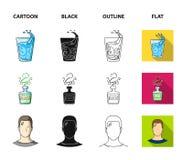 一杯水,一个瓶酒精,一个冒汗的人,苹果 在动画片,黑色,概述的Diabeth集合汇集象 库存例证