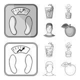 一杯水,一个瓶酒精,一个冒汗的人,苹果 在概述的Diabeth集合汇集象,单色 库存例证
