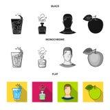一杯水,一个瓶酒精,一个冒汗的人,苹果 在黑的Diabeth集合汇集象,平,单色 向量例证