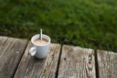 一杯热的咖啡在一个冷的早晨 免版税库存图片