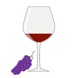 一杯红葡萄酒和一束葡萄在白色背景的 免版税库存图片
