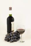 一杯红葡萄酒和葡萄。 免版税库存图片