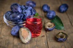 一杯自创李子开胃酒用蓝色李子新鲜的莓果  免版税库存图片