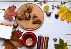 一杯茶、苹果饼、五颜六色的叶子、一个开放笔记本、图画和套  免版税库存图片