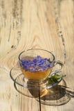 一杯茶与矢车菊的瓣的 库存图片