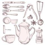 一杯茶和葡萄酒厨房器物 免版税库存照片
