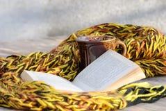 从一杯茶的静物画、围巾和书 图库摄影