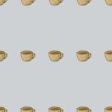 一杯茶 与一杯茶的无缝的样式背景 一杯茶传染媒介 库存图片